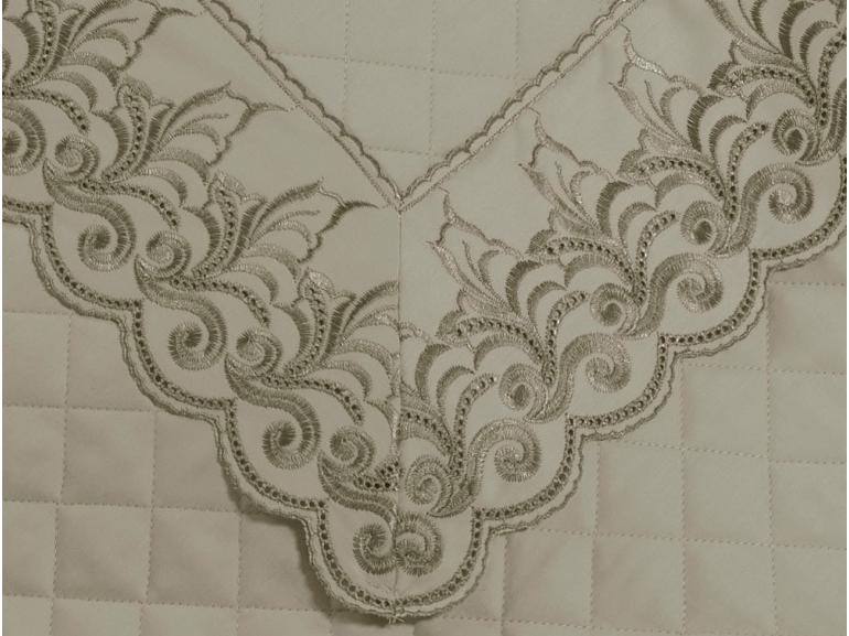 Jogo de Cama King Cetim de Algodão 300 fios com Bordado Inglês - Medici Bege - Dui Design