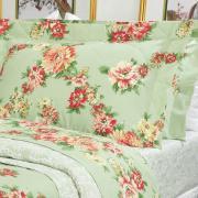 Kit: 1 Cobre-leito Queen + 2 Porta-travesseiros Percal 200 fios - Megan Verde - Dui Design