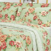 Kit: 1 Cobre-leito Solteiro + 1 Porta-travesseiro Percal 200 fios - Megan Verde - Dui Design