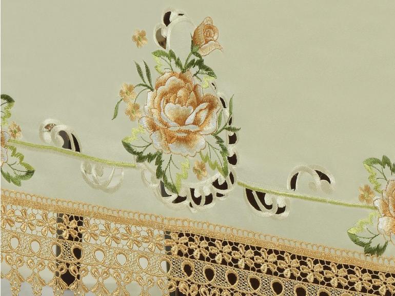 Toalha de Mesa com Bordado Richelieu Retangular 8 Lugares 160x270cm - Melany Natural e Bege - Dui Design