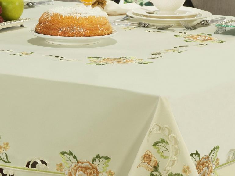 Toalha de Mesa com Bordado Richelieu Quadrada 8 Lugares 220x220cm - Melany Natural e Bege - Dui Design