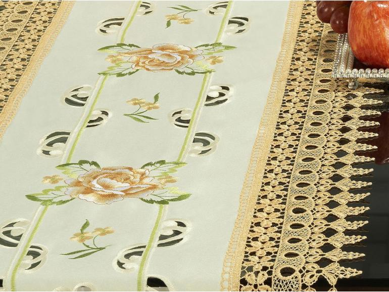 Trilho de Mesa com Bordado Richelieu 45x170cm Avulso - Melany Natural e Bege - Dui Design