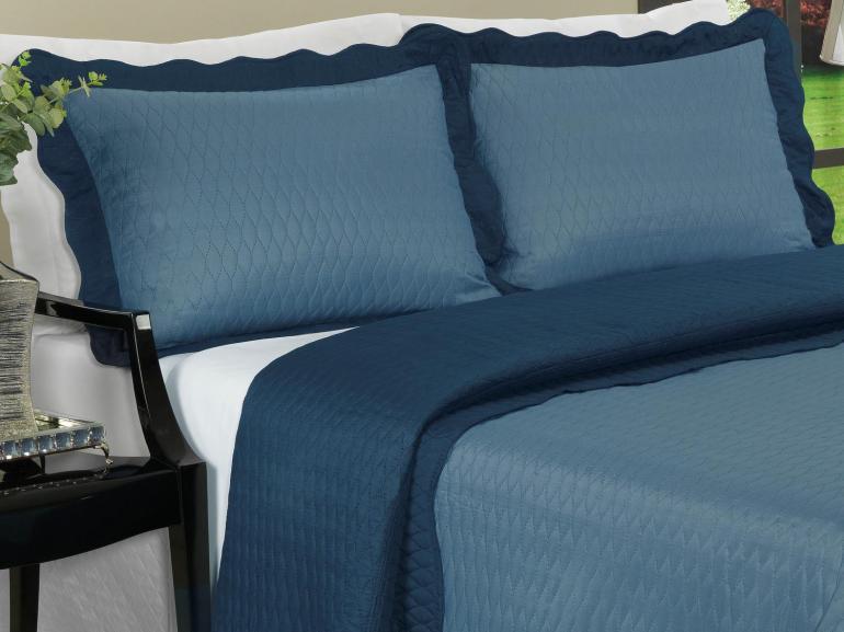 Kit: 1 Cobre-leito Casal Bouti de Microfibra Ultrasonic + 2 Porta-travesseiros - Mellini Jeans - Dui Design