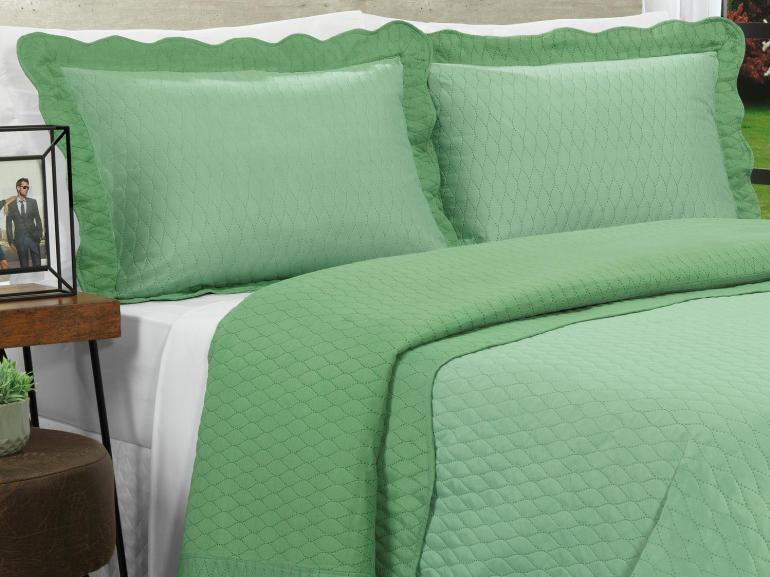Kit: 1 Cobre-leito Queen Bouti de Microfibra Ultrasonic + 2 Porta-travesseiros - Mellini Verde - Dui Design
