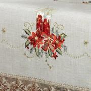 Toalha de Mesa Natal de Linho com Bordado Richelieu Retangular 8 Lugares 160x270cm - Melodia Bege - Dui Design