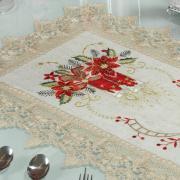 Trilho de Mesa Natal de Linho com Bordado Richelieu 40x85cm Avulso - Melodia Bege - Dui Design