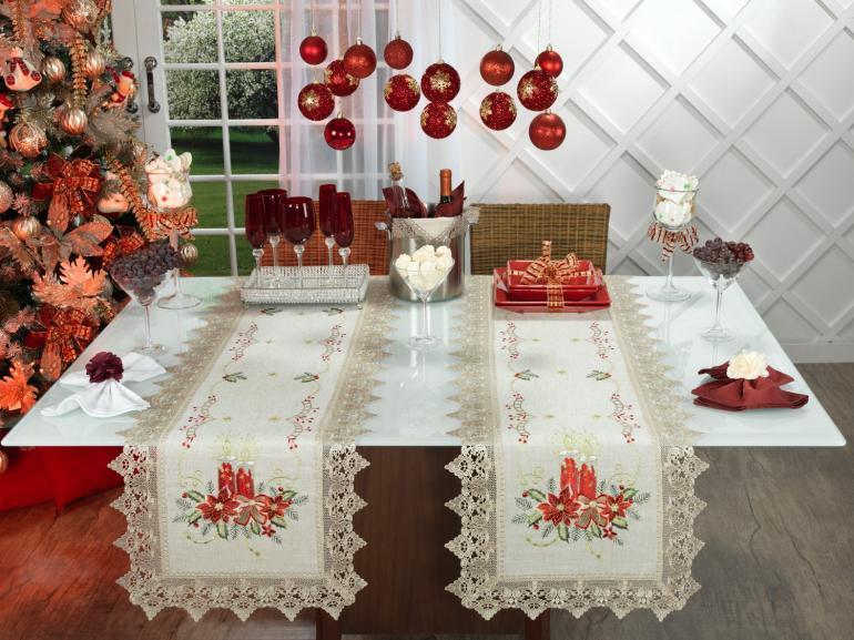 Trilho de Mesa Natal de Linho com Bordado Richelieu 45x170cm Avulso - Melodia Bege - Dui Design