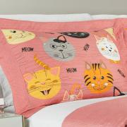 Kit: 1 Cobre-leito King Kids Bouti de Microfibra PatchWork Ultrasonic + 2 Porta-travesseiros - Meow Rosa - Dui Design