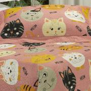 Kit: 1 Cobre-leito Solteiro Kids Bouti de Microfibra PatchWork Ultrasonic + 1 Porta-travesseiro - Meow Rosa - Dui Design