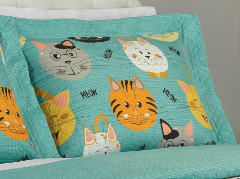 Kit: 1 Cobre-leito King Kids Bouti de Microfibra PatchWork Ultrasonic + 2 Porta-travesseiros - Meow Turquesa - Dui Design