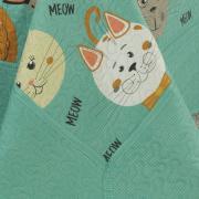 Kit: 1 Cobre-leito Casal Kids Bouti de Microfibra PatchWork Ultrasonic + 2 Porta-travesseiros - Meow Turquesa - Dui Design