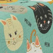 Kit: 1 Cobre-leito Solteiro Kids Bouti de Microfibra PatchWork Ultrasonic + 1 Porta-travesseiro - Meow Turquesa - Dui Design