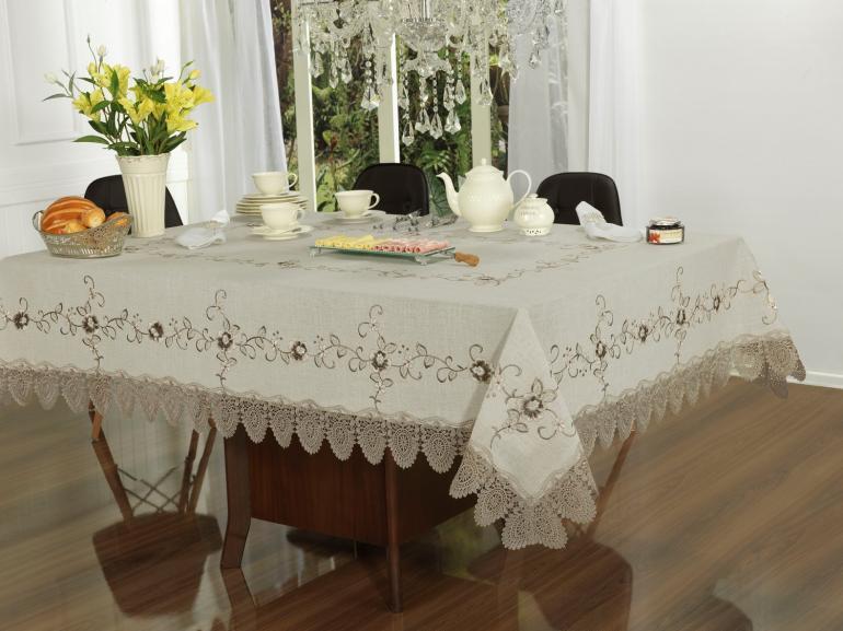 Toalha de Mesa de Linho com Bordado Richelieu Retangular 6 Lugares 160x220cm - Mercedes Bege - Dui Design
