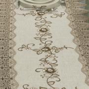 Trilho de Mesa de Linho com Bordado Richelieu 45x170cm Avulso - Mercedes Bege - Dui Design