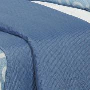 Kit: 1 Cobre-leito King Bouti de Microfibra Ultrasonic Estampada + 2 Porta-travesseiros - Meredit Azul - Dui Design