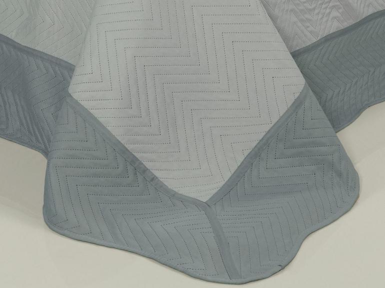 Kit: 1 Cobre-leito Queen Bouti de Microfibra Ultrasonic + 2 Porta-travesseiros - Meridian Cinza - Dui Design