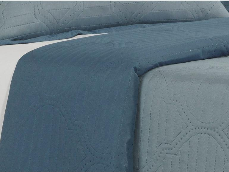 Kit: 1 Cobre-leito Solteiro Bouti de Microfibra Ultrasonic + 1 Porta-travesseiro - Messina Azul - Dui Design