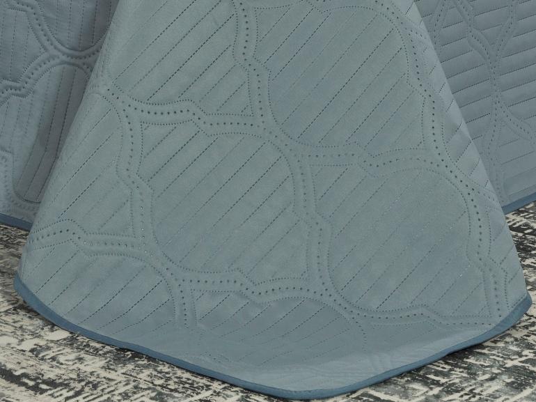 Kit: 1 Cobre-leito Casal Bouti de Microfibra Ultrasonic + 2 Porta-travesseiros - Messina Azul - Dui Design