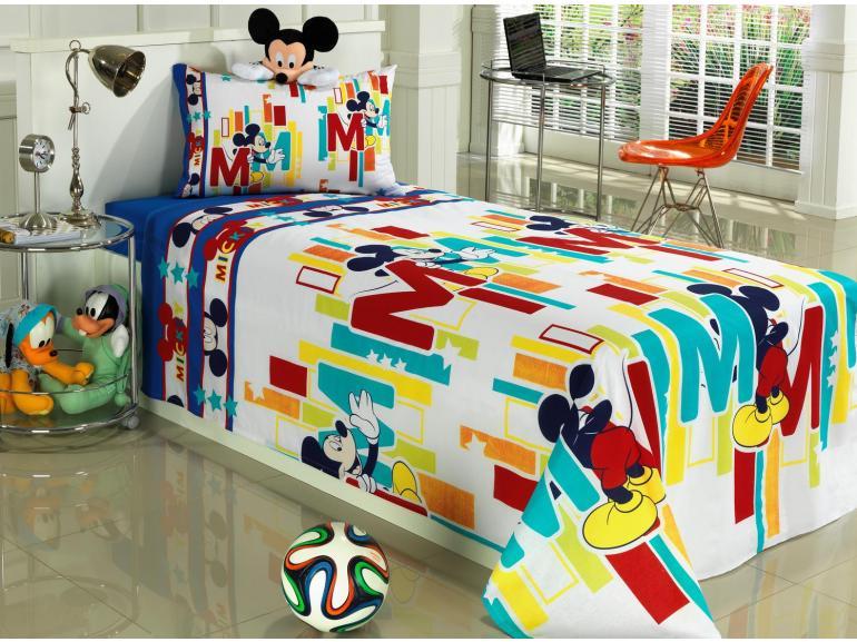 312870dda4 Jogo de Cama Solteiro Kids 100% algodão - Mickey Hide - Santista ...