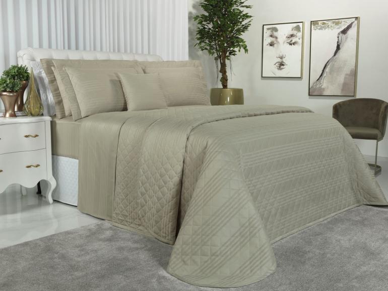 Kit: 1 Cobre-leito Casal + 2 porta-travesseiros Cetim 300 fios - Milano Bege - Dui Design