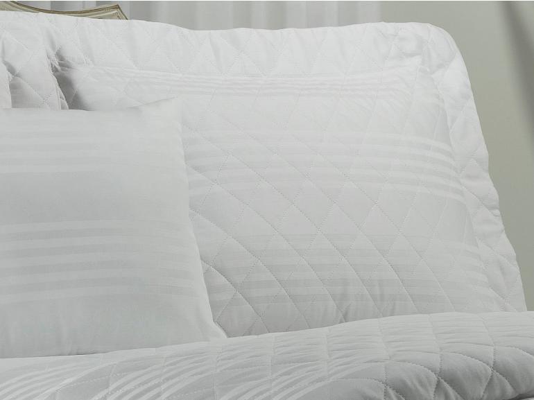 Kit: 1 Cobre-leito Casal + 2 porta-travesseiros Cetim 300 fios - Milano Branco - Dui Design