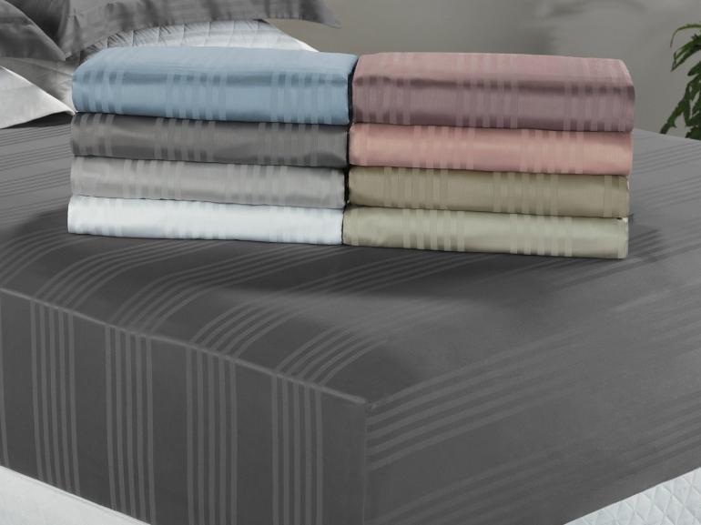 Lençol Casal com elástico Avulso Cetim 300 fios 100% Algodão - Milano - Dui Design