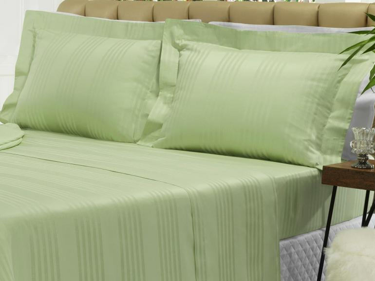 Jogo de Cama Casal Cetim 300 fios - Milano Verde - Dui Design