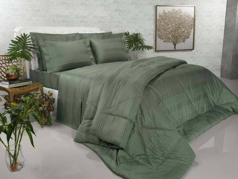 Enxoval Casal com Edredom 5 peças Cetim 300 fios - Milano Verde Confrei - Dui Design