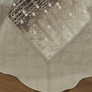 Kit: 1 Cobre-leito Queen Bouti de Microfibra Ultrasonic Estampada + 2 Porta-travesseiros - Milfort Castanho - Dui Design