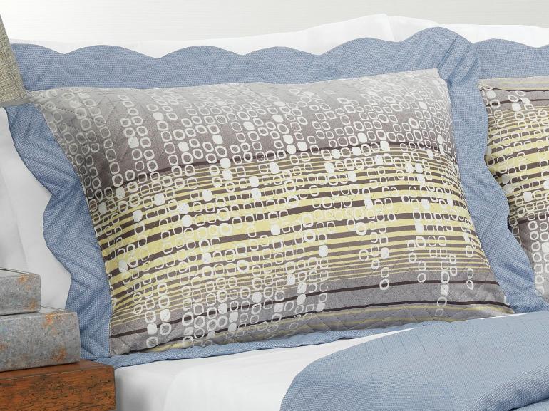 Kit: 1 Cobre-leito Solteiro Bouti de Microfibra Ultrasonic Estampada + 1 Porta-travesseiro - Milfort Cinza - Dui Design