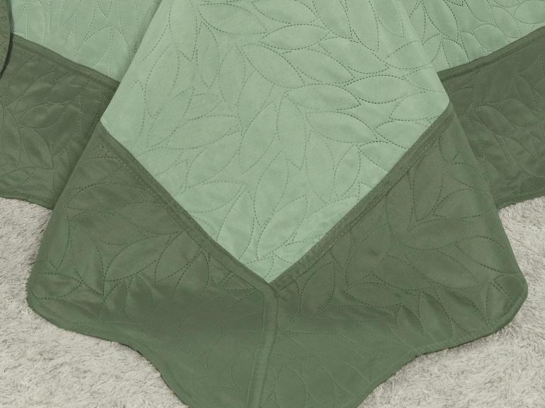 Kit: 1 Cobre-leito Queen Bouti de Microfibra Ultrasonic + 2 Porta-travesseiros - Mitre Verde - Dui Design