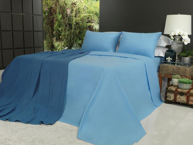Jogo de Cama Queen 150 fios 100% Algodão - Mix Azul - Dui Design