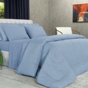 Enxoval King com Edredom 5 peças 150 fios - Mix Azul - Dui Design