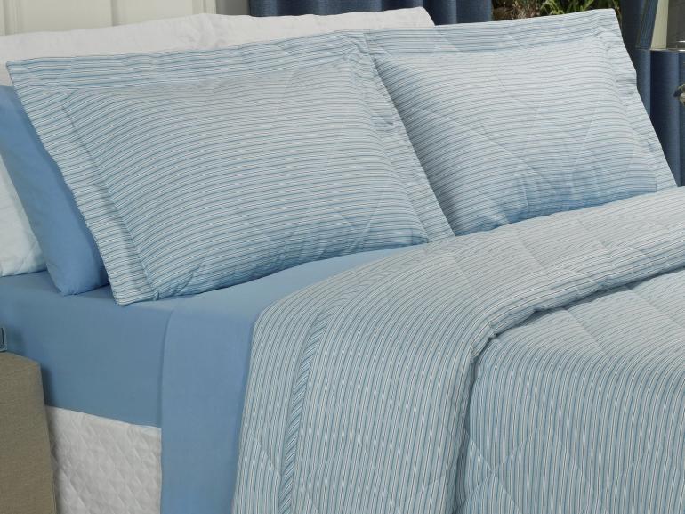Kit: 1 Cobre-leito Casal + 2 Porta-travesseiros 150 fios - Mix Azul - Dui Design