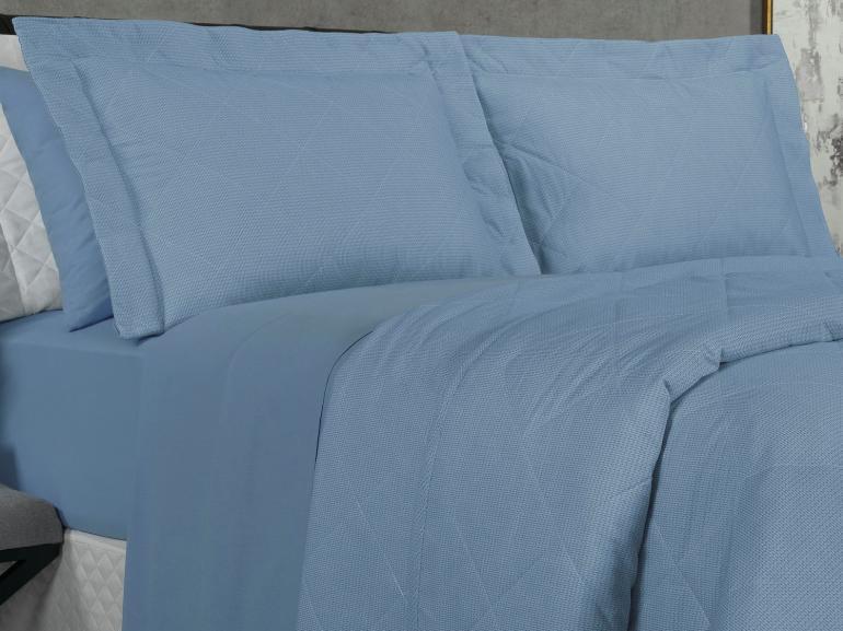 Kit: 1 Cobre-leito King + 2 Porta-travesseiros 150 fios - Mix Azul - Dui Design