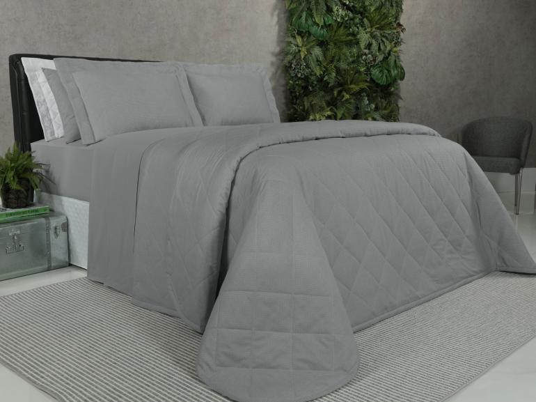 Kit: 1 Cobre-leito Queen + 2 Porta-travesseiros 150 fios - Mix Cinza - Dui Design