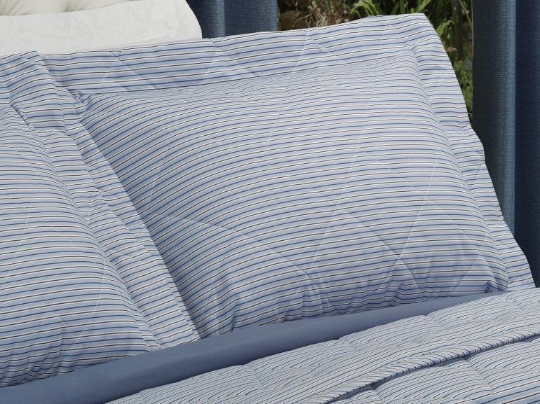 Kit: 1 Cobre-leito Casal + 2 Porta-travesseiros 150 fios - Mix Indigo - Dui Design