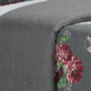 Kit: 1 Cobre-leito Solteiro Bouti de Microfibra Ultrasonic Estampada + 1 Porta-travesseiro - Moara Cinza - Dui Design