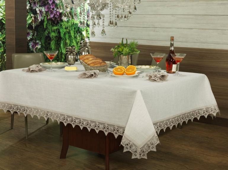 Toalha de Mesa de Linho com Bordado Guipir Quadrada 4 Lugares 160x160cm - Modena Linho e Bege - Dui Design