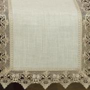 Trilho de Mesa de Linho com Bordado Guipir 45x170cm Avulso - Modena Linho e Bege - Dui Design