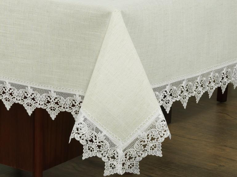 Toalha de Mesa de Linho com Bordado Guipir Retangular 6 Lugares 160x220cm - Modena Linho e Natural - Dui Design
