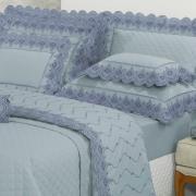 Jogo de Cama Solteiro Percal 200 fios com Bordado Inglês - Monaco Azul Jeans - Dui Design
