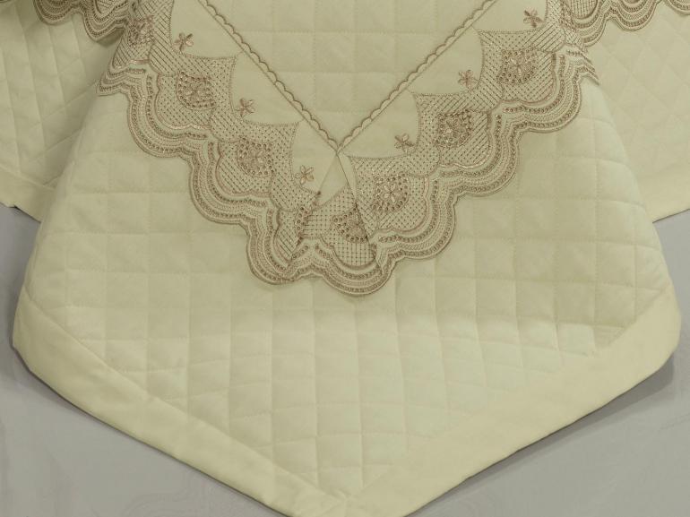 Jogo de Cama Solteiro Percal 200 fios com Bordado Inglês - Monaco Marfim e Camurça - Dui Design