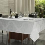 Toalha de Mesa Fácil de Limpar Retangular 6 Lugares 160x220cm - Monarca Branco - Dui Design