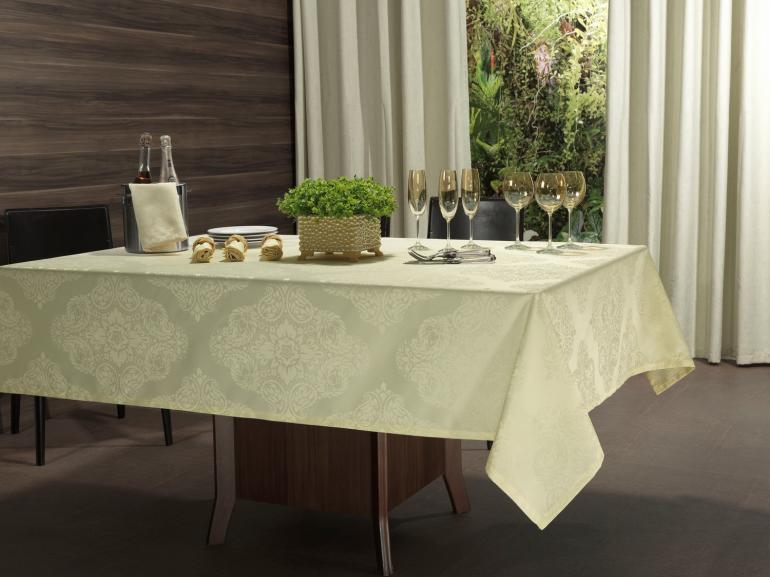 Toalha de Mesa Fácil de Limpar Retangular 6 Lugares 160x220cm - Monarca Champagne - Dui Design