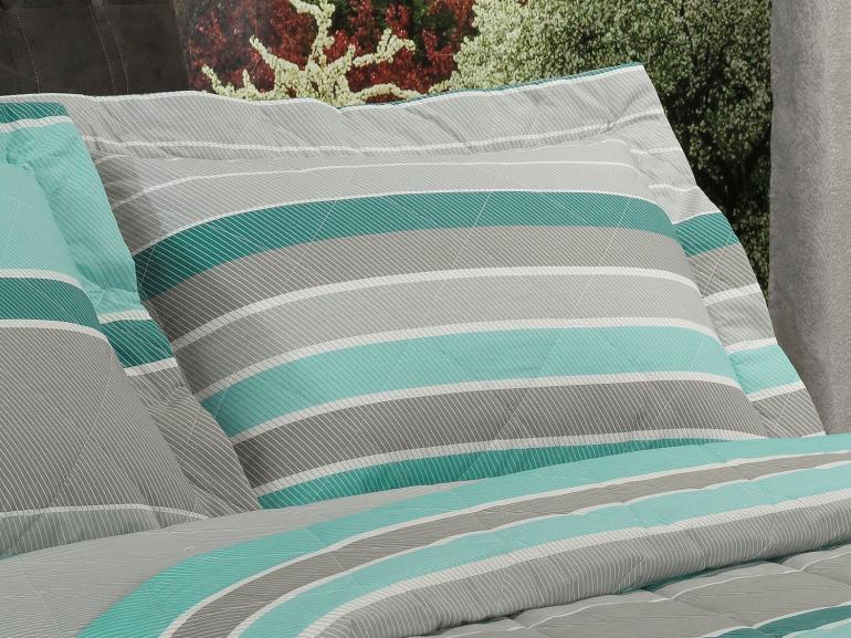 Kit: 1 Cobre-leito Solteiro + 1 Porta-travesseiro Percal 200 fios - Mondeo Turquesa - Dui Design