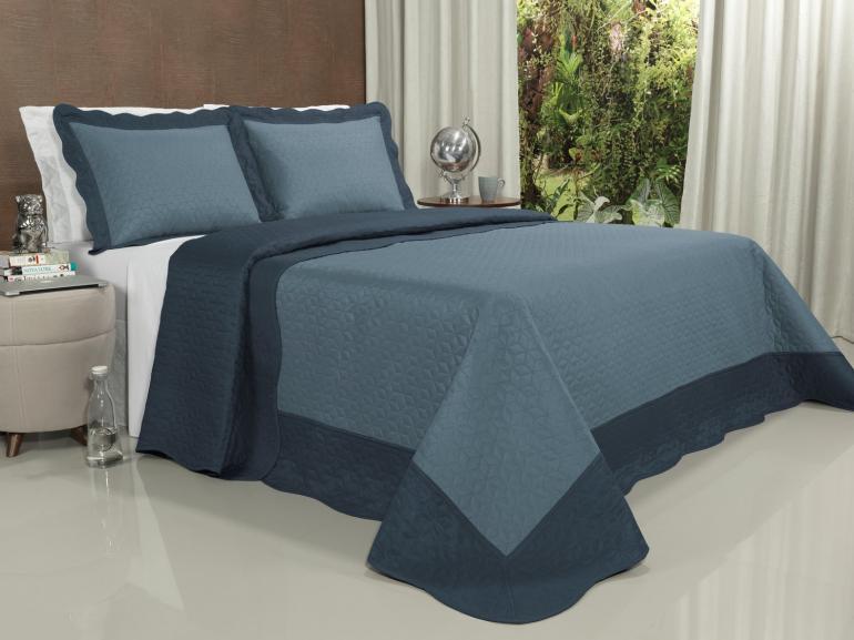Kit: 1 Cobre-leito Casal Bouti de Microfibra Ultrasonic + 2 Porta-travesseiros - Mondial Indigo - Dui Design