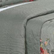 Kit: 1 Cobre-leito Casal Bouti de Microfibra Ultrasonic Estampada + 2 Porta-travesseiros - Monique Cinza - Dui Design
