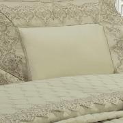 Kit: 1 Cobre-leito Solteiro + 1 porta-travesseiro Percal 200 fios com Bordado Inglês - Montecarlo Bege - Dui Design