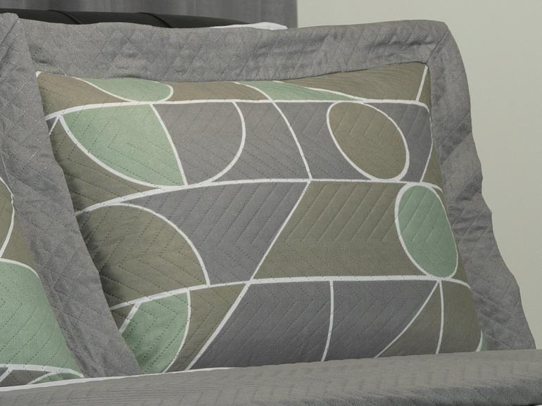 Kit: 1 Cobre-leito Solteiro Bouti de Microfibra Ultrasonic Estampada + 1 Porta-travesseiro - Monteiro Cinza - Dui Design